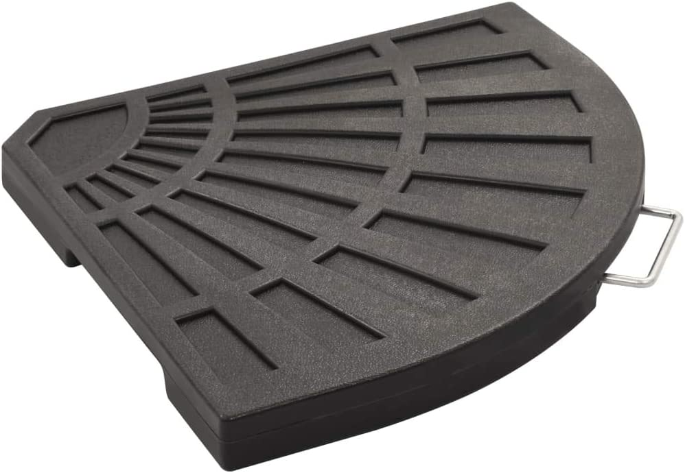 vidaXL Umbrella Weight Plate Black Fan-shaped 14kg Parasol Base Quarter Stand