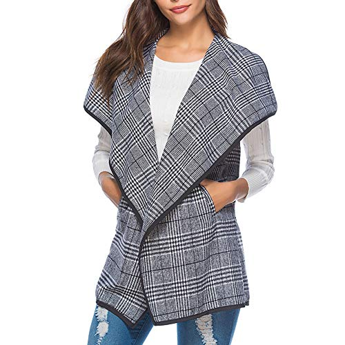 OCASHI Women's Lapel Open Front Sleeveless Plaid Vest Cardigan with Pockets (XL, Gray) by OCASHI