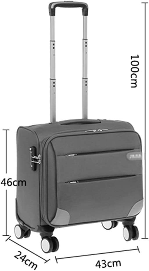 Travel Trolley Case Suitcase Spinner Hand Luggage Check-in Hold Luggage Expandable Strong Lightweight Flight Attendant Universal Wheel Oxford Cloth GAOFENG Color : Blue, Size : 18 inches