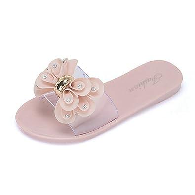 JITIAN Womens Open Toe Slide Sandale Slip auf Blumen Plattformen Flats Beach Slipper
