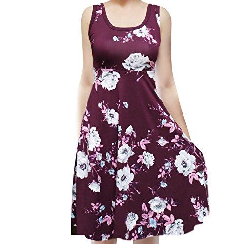 Plum Sleeveless Dress - SMT Women's Sleeveless Flowy Midi Summer Beach A Line Tank Dress (Plum) Grey Flo Small