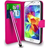 Samsung Galaxy S5 Pink Leather Wallet Flip Hülle Tasche + Touch Pen Stylus + Display Schutzfolie & Poliertuch