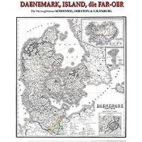 Historische Karte: DÄNEMARK, ISLAND, FAROER Inseln - Herzogtümer SCHLESWIG, HOLSTEIN, LAUENBURG 1858 | 1865 (plano)