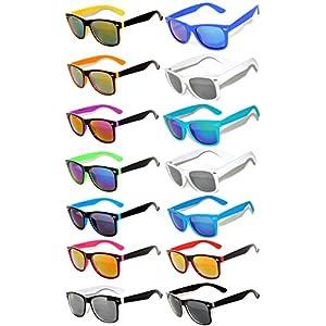 Wholesale Bulk Matte Colored Mirrored Lens Sunglasses 14 pairs OWL.