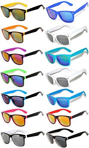 Wholesale Bulk Matte Colored Mirrored Lens Sunglasses 14 pairs (Novelty Sunglasses)