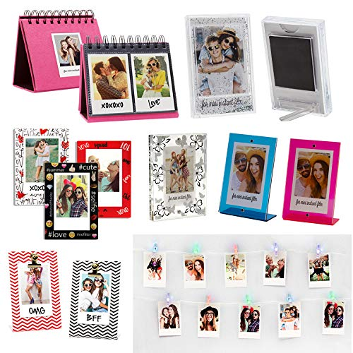 - Instax Photo Gift Pack for Fujifilm Instax Mini Film, Set Includes 5 Picture Frames, Pink Album, 3 Magnets, Glitter Frame Magnet, and Photo Clip String Lights
