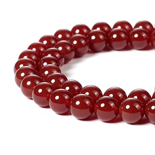 BEADNOVA 8mm Natural Red Agate Gemstone Round Loose Beads for Jewelry Making (45-48pcs) (Beads Round Necklace Agate)
