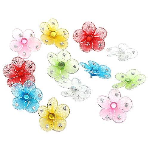 12pcs 25mm Stockings Silk Flower for Wedding Party Bow Hairpin Decor (Style 1) (Nylon Flower Decor)