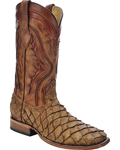 Corral Mens Pirarucu Fisk Cowboy Boot Fyrkantig Tå - C3042 Antika Sadel