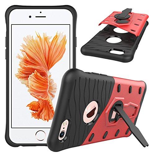 Meimeiwu Stilvolle TPU 2-Schicht-Schutz Durable Fall-Abdeckung mit Kickstand für Iphone 6 6S,Rot
