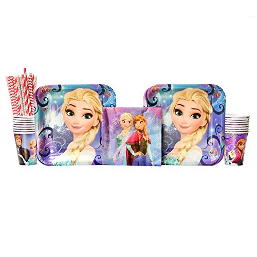 Cedar Crate Market Bundle Disney Frozen Magic Party Supplies Pack for 16 Guests - Straws, Dinner Plates, Luncheon Napkins, and Cups ()