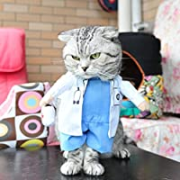 Gotd Doctor costume Pet Dog Winter Clothes Jacket Coat Vest Puppy Cat Sweater Hoodie Apparel