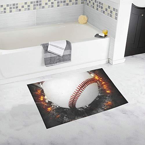 Abstract Baseball Sport Invitation Poster Flyer Custom Non-Slip Bath Mat Rug Bath Doormat Floor Rug for Bathroom 20 X 32 Inch -