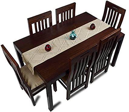 Mubell Kolkata Farmhouse Six Seater Dining Table Set Teak Wood - 5 seater dining table