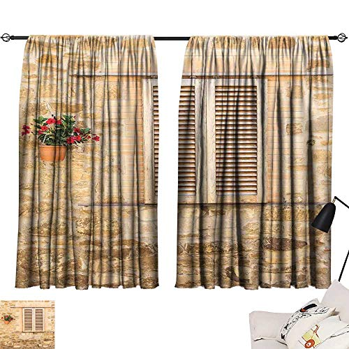 Ediyuneth Beaded Curtain Tuscan,Rustic Stone House and Window Shutters Flower Pot on Wall Italian Country Home Theme,Beige 54