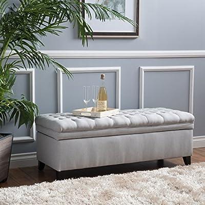 Laguna Living Room Furniture ~ Tufted Fabric Storage Ottoman (Light Gray)
