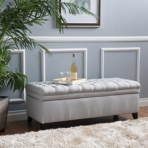 Laguna Living Room Furniture ~ Tufted Fabric Storage Ottoman (Light Gray)