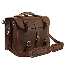 """Texbo Men's Thick Cowhide Leather Shoulder Briefcase Fit 17"""" Laptop Bag Tote (Brown)"""