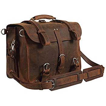 """Texbo Real Thick Cowhide Leather Men's Shoulder Briefcase Fit 17"""" Laptop Bag Tote"""