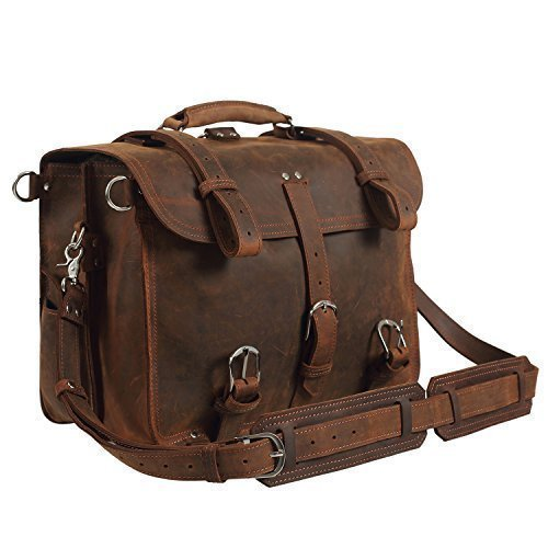 Texbo Real Thick Cowhide Leather Men's Shoulder Briefcase Fit 17' Laptop Bag Tote