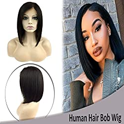 """Bob Human Hair Lace Frontal Wigs Brazilian Short Straight with Baby Hair Side Part Glueless Lace Wig for Women 130% Density 10"""" #1B Off Black"""