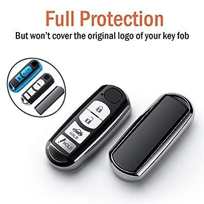 COMPONALL for Mazda Key Fob Cover, Key Fob Case for Mazda 3 6 8 Miata MX-5 CX-3 CX-5 CX-7 CX-9 4-Buttons Premium Soft TPU Full Cover Protection Smart Remote Keyless Key Fob Shell, Silver: Automotive