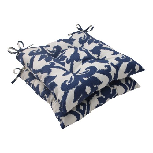 Pillow Perfect Outdoor Bosco Tufted Seat Cushion, Navy, Set of (Weather Dining Chair Cushions)