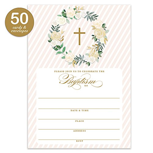 Neutral Baptism Invitations with Envelopes ( Pack of 50 ) Christening Invites Fill In the Blank Religious Christian Church Mass Reception Blessing Dedication Cards Large 5x7