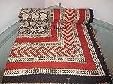 AMERCRAFTBAZAAR Indian 20 No.Twin Single Bed Size Hand Blocked Organic Vegetable Dye Indigo Kantha Quilt, Kantha Blanket, Bed Cover, Bedspread, Bohemian Bedding 6090''