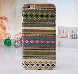 Fashion Folk Style Tribe Cellphone Protective Shell Apple iPhone 6 Case (4.7 inches) Colorful Stripe Back Cover - Khaki