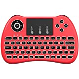 Aerb Backlit 2.4GHz Wireless Mini Keyboard H9 Pro, Mouse Toupad Combo, Portable Multi-media Remote Control for Android TV Box, HTPC, IPTV, PC, Pad and More - Red(Pure White Backlight)