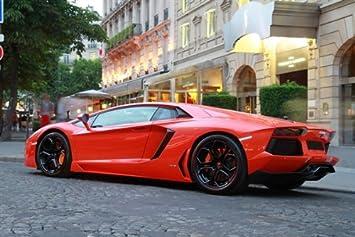 Amazon Com Lamborghini Aventador Orange Left Rear Hd Poster Super