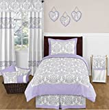 4 Piece Floral Damask Design Comforter Set Twin Size, Featuring Reversible Paisley Bordered Dust Ruffle Pattern Bedding, Stylish Contemporary Fun Kids Girls Bedroom Decor, Purple, Grey, Multicolor