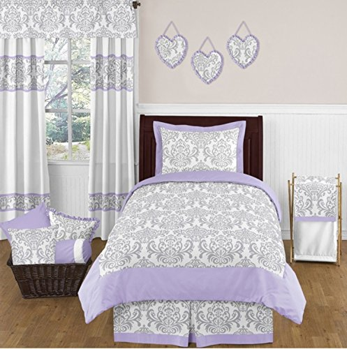 4 Piece Floral Damask Design Comforter Set Twin Size, Featuring Reversible Paisley Bordered Dust Ruffle Pattern Bedding, Stylish Contemporary Fun Kids Girls Bedroom Decor, Purple, Grey, Multicolor by SE