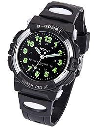 Kids Watch, Child Quartz Wristwatch with for Boys Kids Waterproof Time Teach Watches Rubber Band Analog Quartz Children Sport Outdoor Wrist Watches (Most Black)