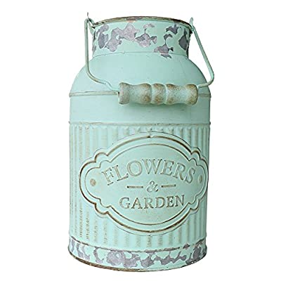 "VANCORE Shabby Chic Metal Jug Vase Pitcher Flower Holder for Home Decoration - 🌻Dimensions: Height 20.5cm/8"",Width 12.5cm/4.9"", bottle mouth 9cm/3.5"", bottom diameter 12.5cm/4.9"". Pakcage include: 1 x Metal Flower Vase(Not Include Flowers) 🌻Petite size allows it to fit on any tabletop surfaces, and its charming design will complement room decor from bathrooms to kitchens. 🌻This vase is handmade, it is ideal for small potted plants or flowers. Stylish decorative accent for any room decor. - vases, kitchen-dining-room-decor, kitchen-dining-room - 51I7SzkOQZL. SS400  -"