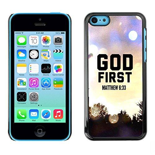 DREAMCASE Citation de Bible Coque de Protection Image Rigide Etui solide Housse T¨¦l¨¦phone Case Pour APPLE IPHONE 5C - GOD FIRST - MATTHEW 6:33