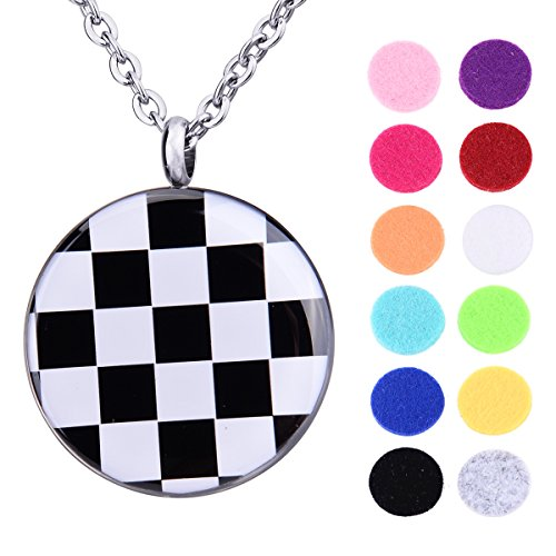 Enamel Square Grid Essential Oils Aromatherapy Diffuser Locket Necklace with Roman Numerals ()