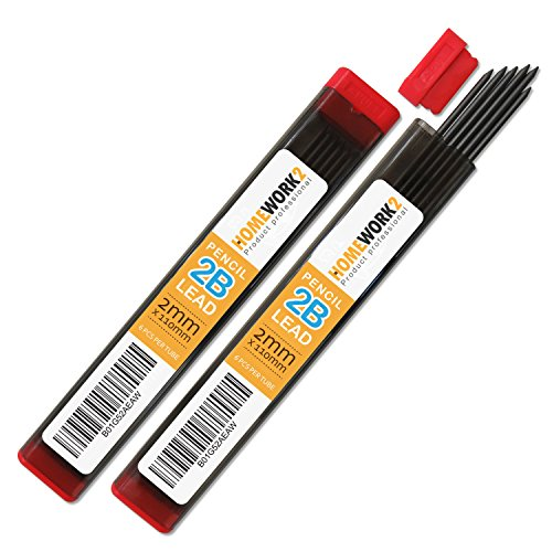 2mm Lead Refill, 2B, 12 Black Pencil Leads for Compass or Mechanical Pencil – Pack of - Compass Pencil Lead