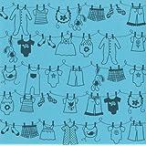 Bazzill Basics - Láminas de tarjeta (30 x 30 cm, 15 unidades), diseño de ropa tendida, color azul