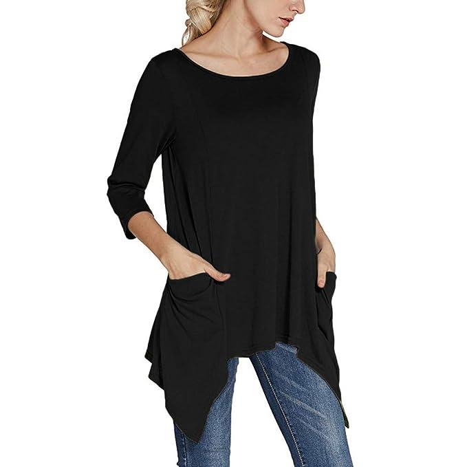 BBestseller Blusas del Remiendo de la Top de Camiseta de Color Liso del otoño de Las