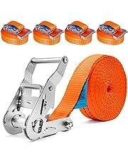 4 x 2000kg 6m spanbanden met ratel spanriem ratelspanband sjorband ratelriem sjorriem 35mm eendelig 2000 daN 2t