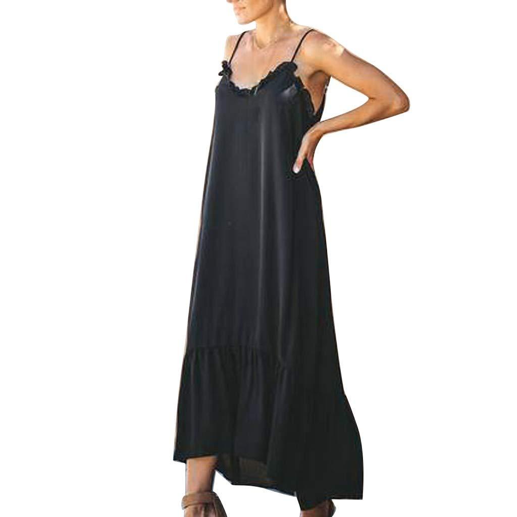 wodceeke Womens Fashion Sleeveless Solid Color V-Neck Dress Hem Irregular Long Maxi Pleated Dresses(Black,M) by wodceeke