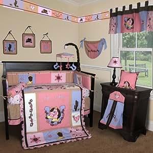 SISI Baby Bedding -Western Cow Girl 15 PCS Crib Bedding