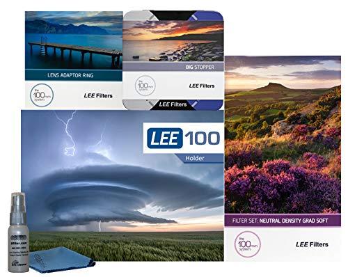 (LEE Filters LEE100 82mm Landscape Starter Kit 1 - LEE Filters LEE100 Filter Holder, LEE 100mm Soft Edge Graduated ND Filter Set, LEE 100mm Big Stopper and 77mm Wide Angle Adapter Ring)