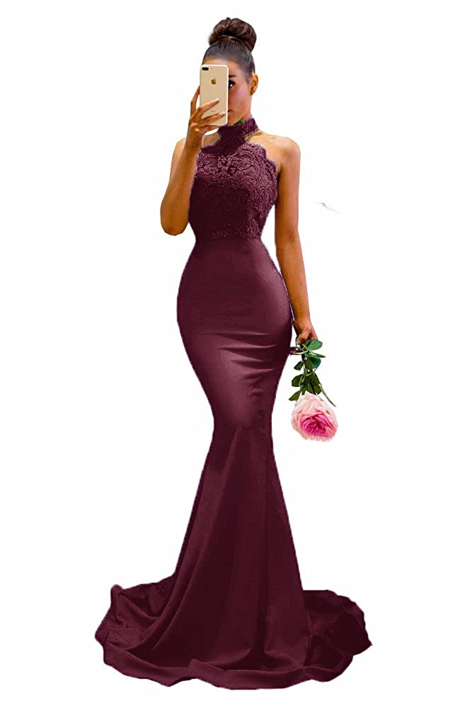 Burgundy MariRobe Womens Halter Neck Mermaid Appliques Lace Long Bridesmaid Dress Formal