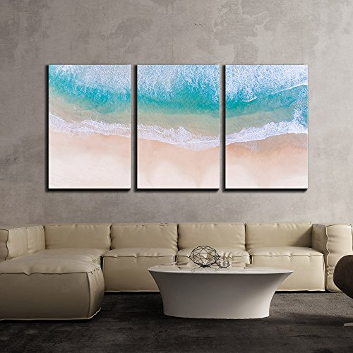 Tropical Beach with White Sand and Clear Waves x3 Panels