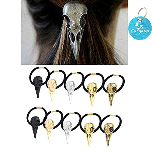 Carykon 10PCS Women Girls Hair Tie Alloy Crow Skull Elastic Ponytail Holders, Mixed Colors ()