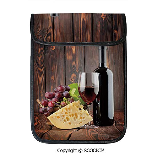 SCOCICI iPad Pro 12.9 Inch Sleeve Tablet Protective Bag Red Wine Cabernet Bottle and Glass Cheese and Grapes On Wood Planks Print Decorative Custom Tablet Sleeve Bag Case