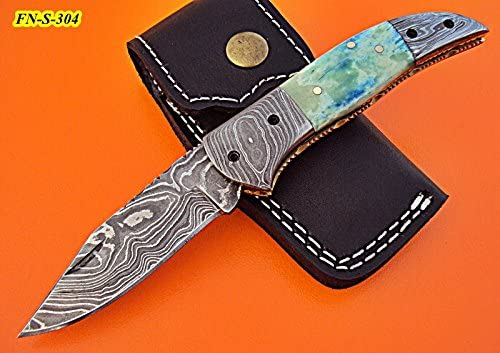 FN-S-304, Custom Handmade Damascus Steel 7.1 Inches Folding Knife – Solid Bone Handle with Damascus Steel Bolsters